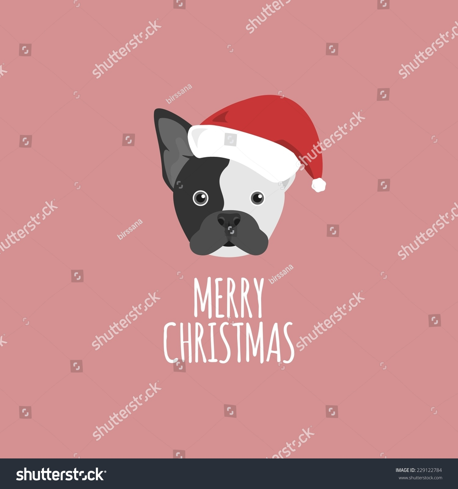Merry Christmas Card French Bulldog Stock Vector (Royalty Free ...