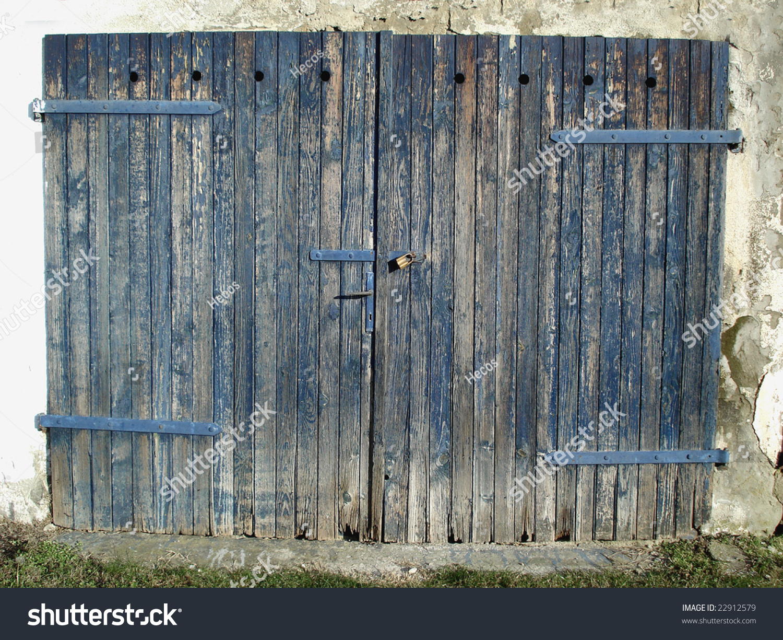 Old Wooden Garage Door Padlock Hinge Stock Photo Edit Now 22912579