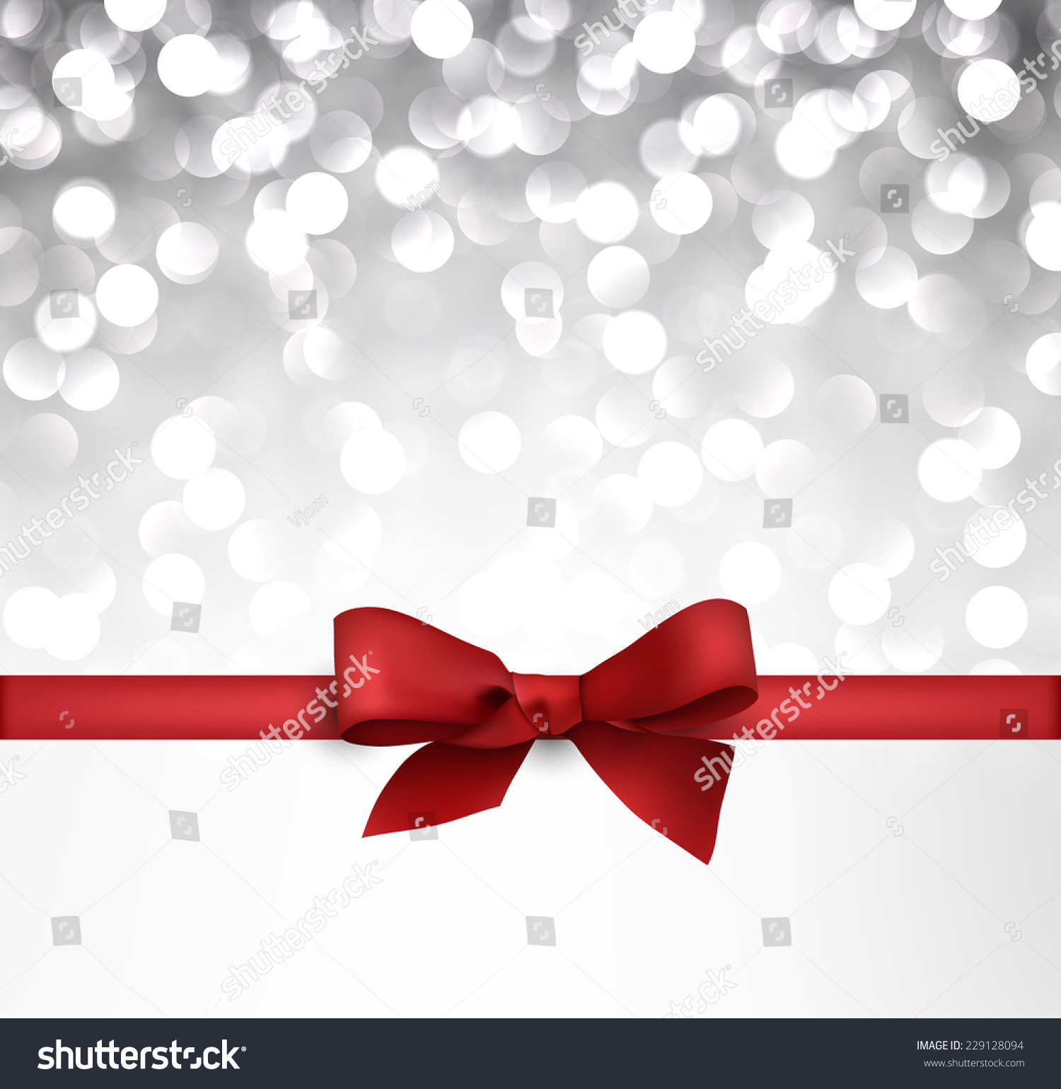 Shiny Silver Christmas Background Red Bow Stock Vector 229128094 ...
