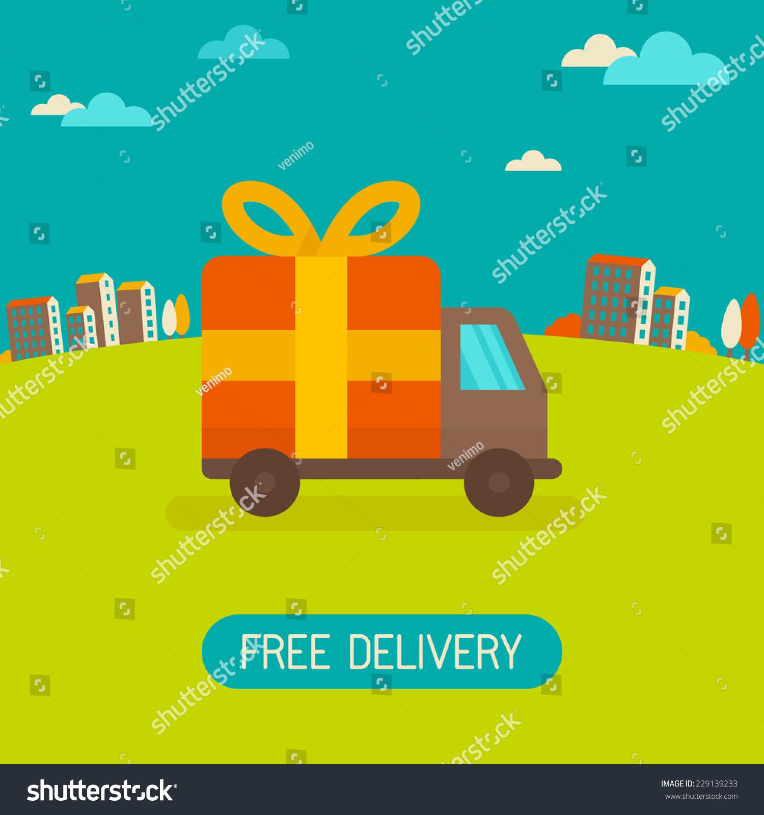 Free banner images for website - Vector Free Delivery Concept In Flat Style Illustration For Banner For Website Transportation Truck