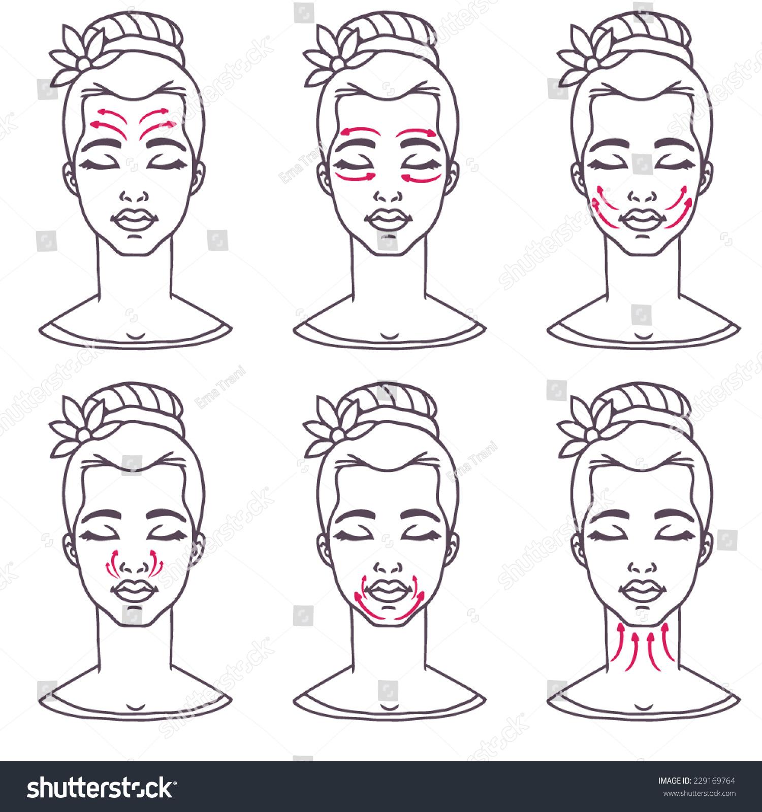 Set Cute Womans Head Basic Massage Stock Vector Royalty Free