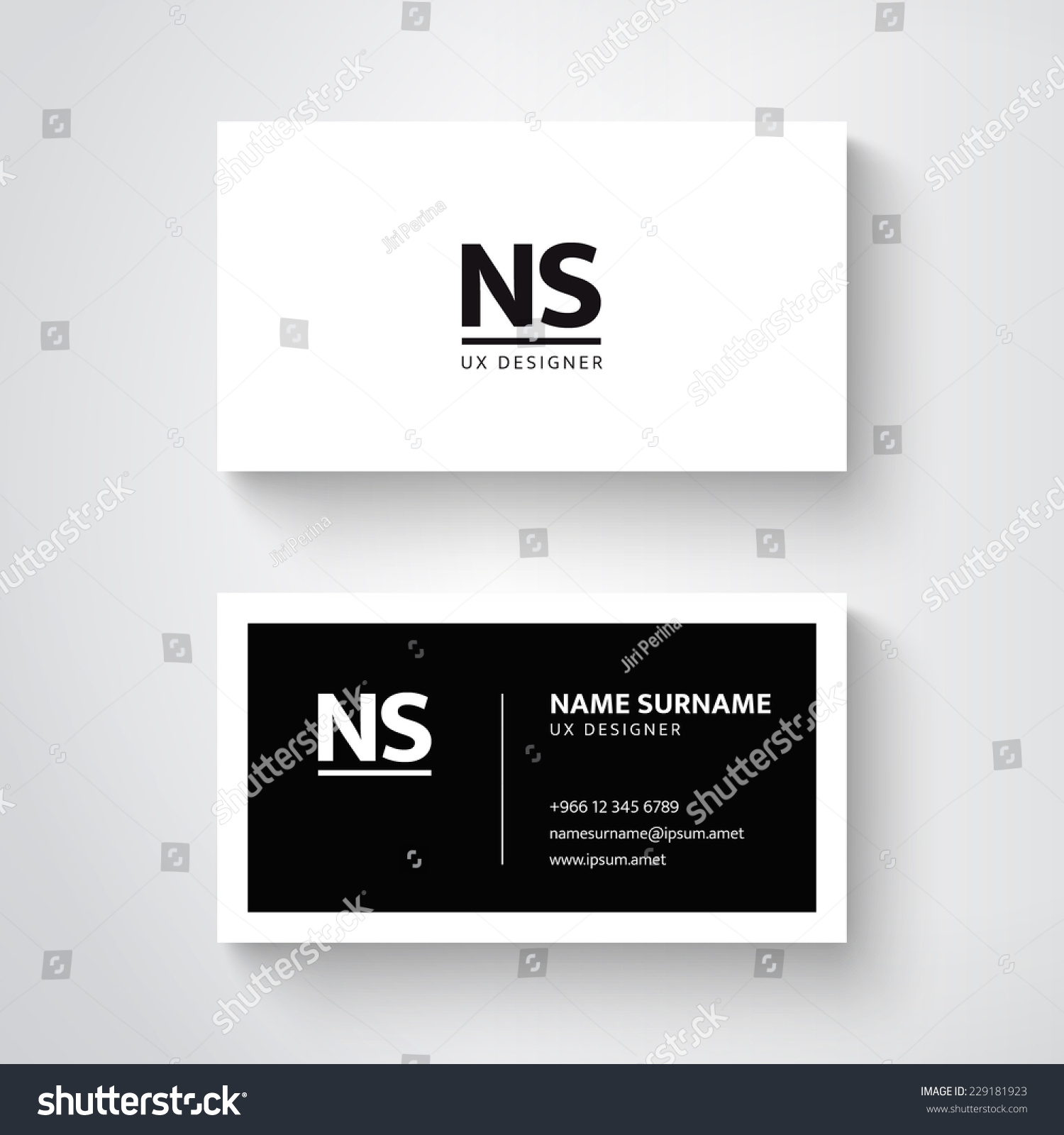 Vector Simple Business Card Template Clean Stock Vector 229181923 ...