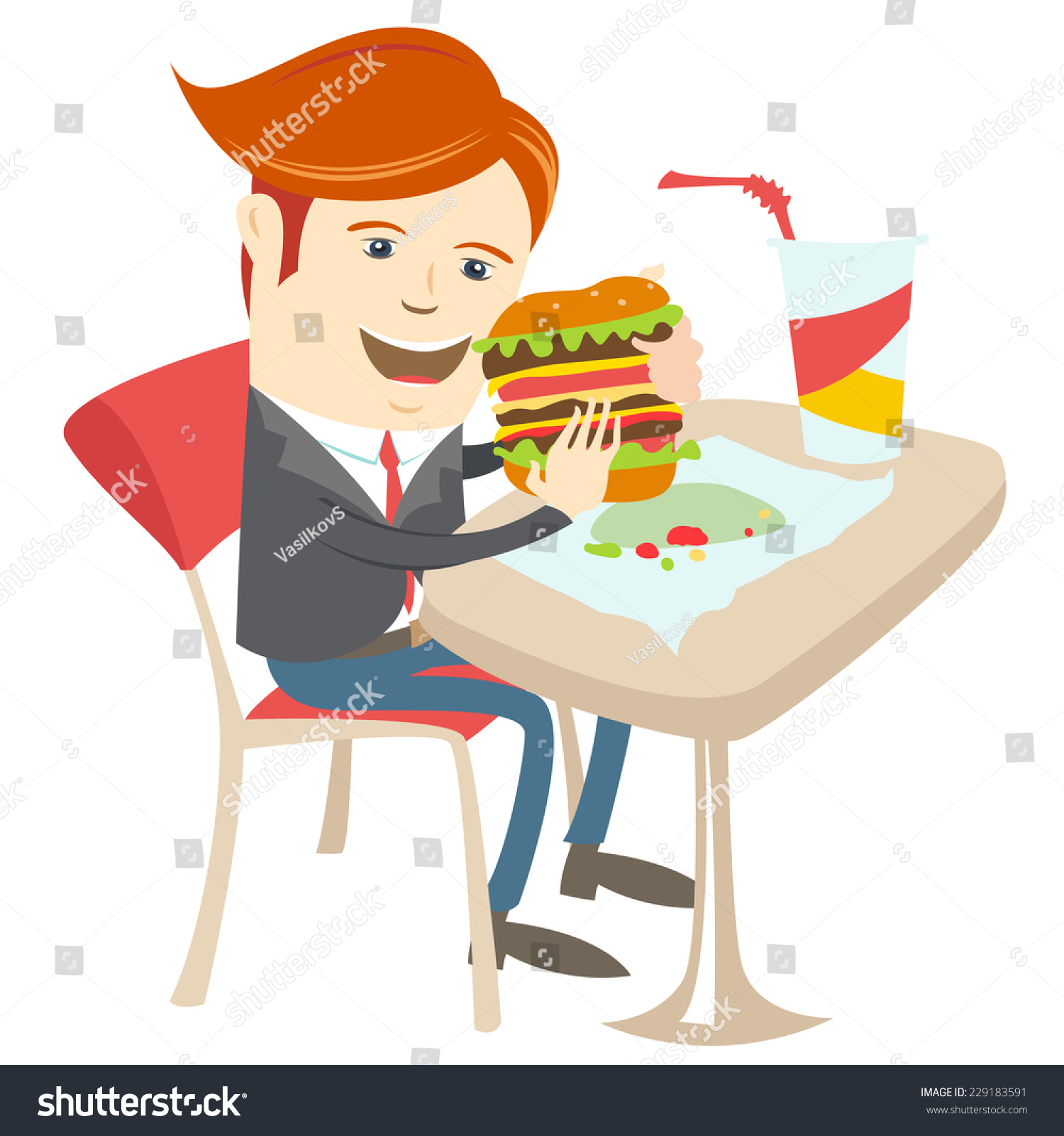 Vector illustration Hipster office man eating sandwich at cafe Flat style