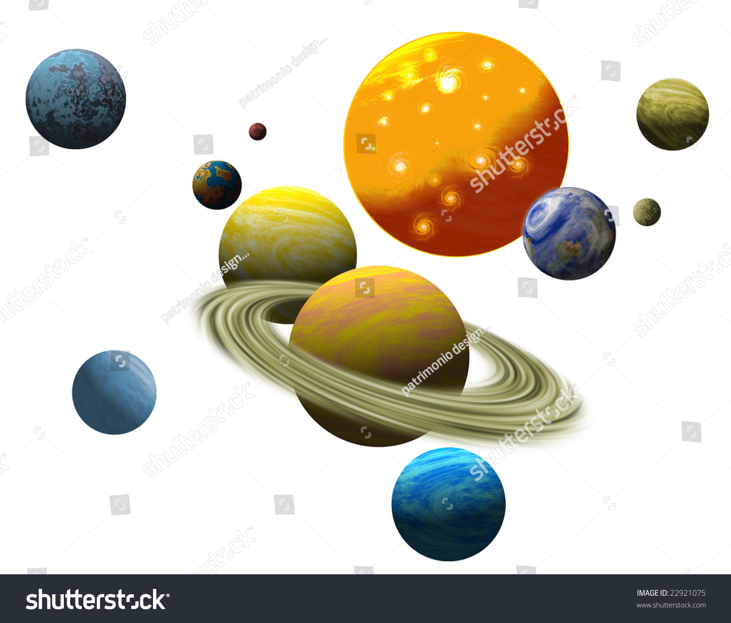 The Solar System Isolated On White Background Stock Photo 22921075 : Shutterstock