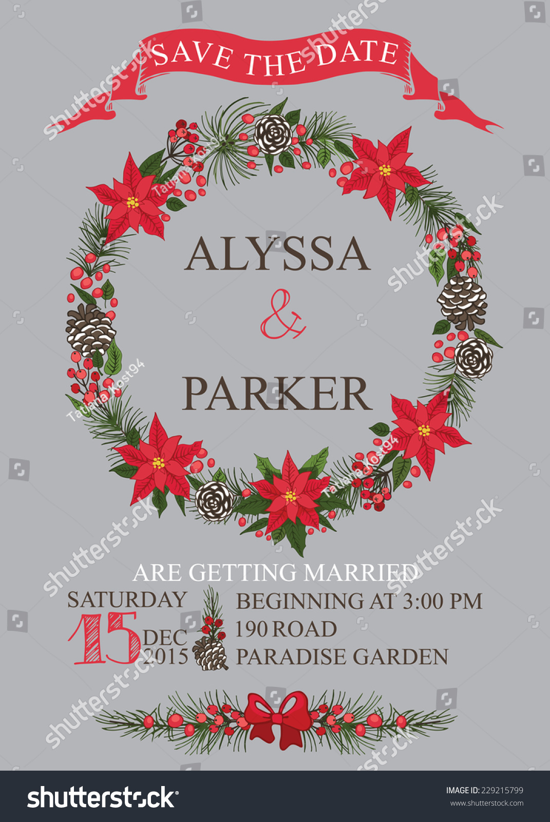 winter wedding save date card christmas stock vector royalty free