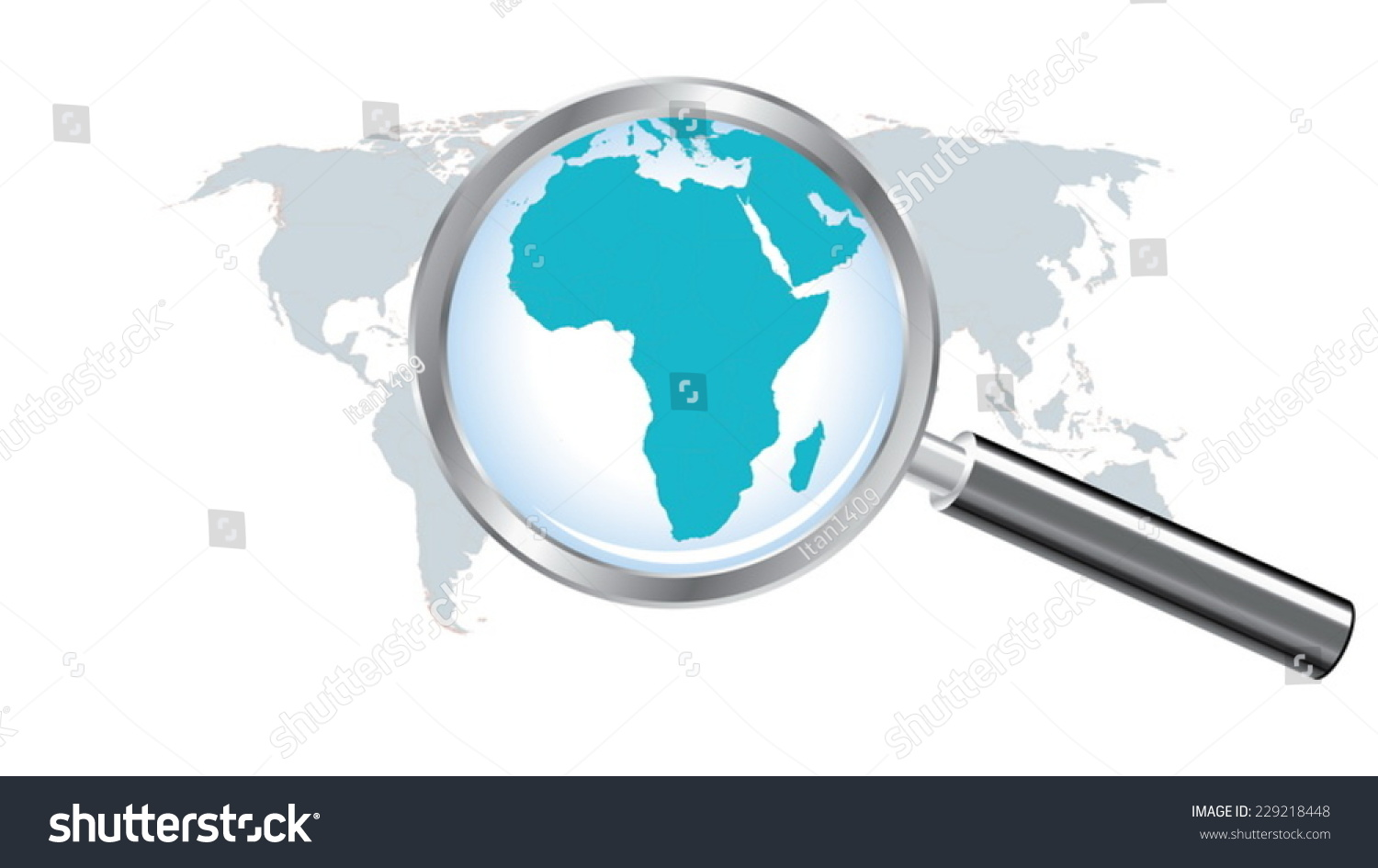 World map countries africa magnified by stock vector 229218448 world map countries with africa magnified by loupe gumiabroncs Gallery