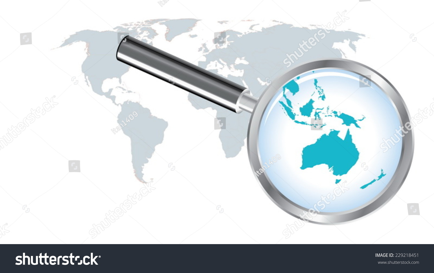 world map countries with australia magnified by loupe