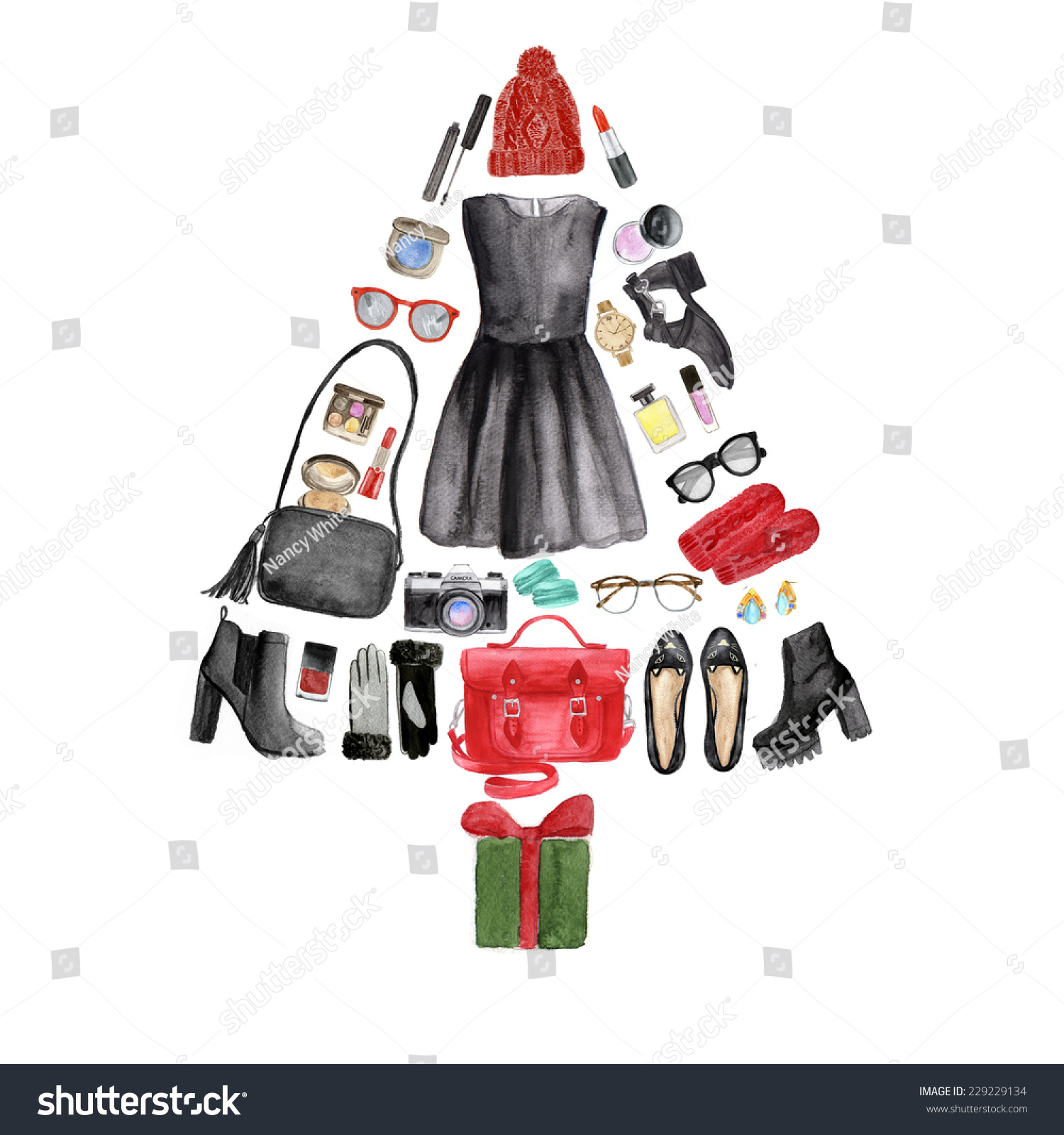 Illustration of a christmas tree made from various female for Christmas tree items list