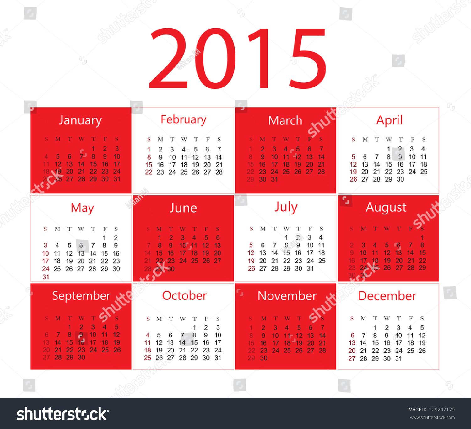 Calendar Red : Calendar red and white vector template