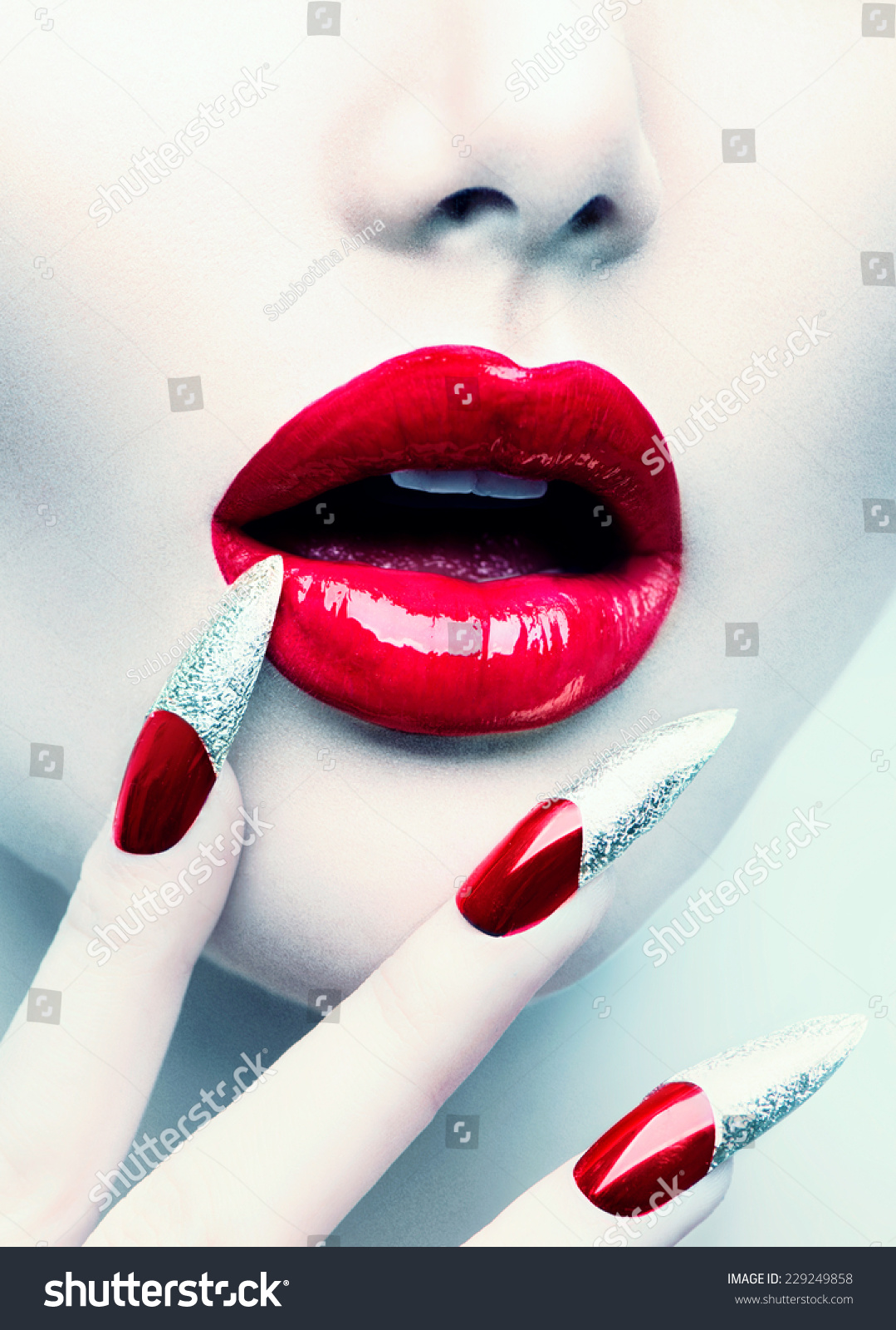 Makeup Manicure Red Long Nails Red Stock Photo (Download Now ...