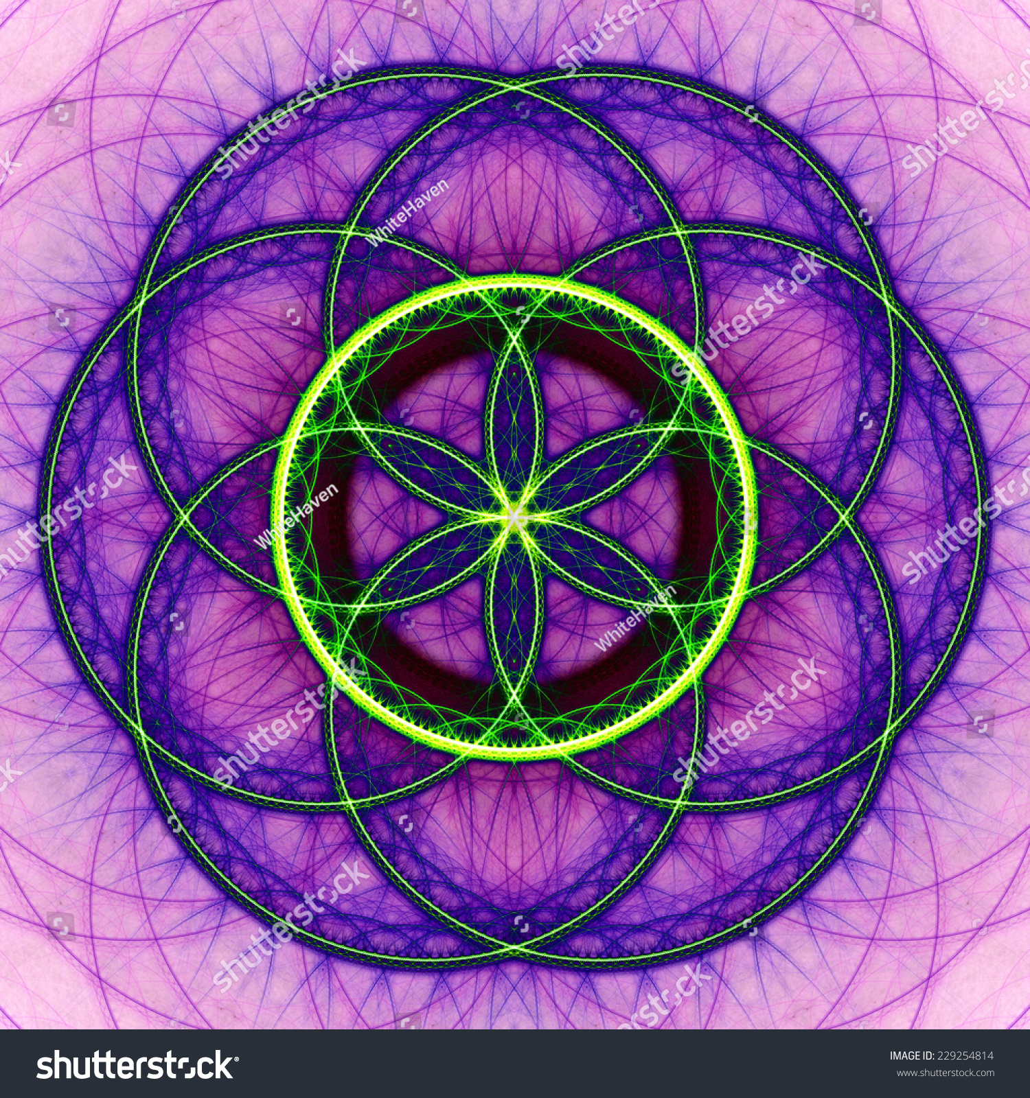 Abstract High Resolution Colorful Flower Of Life Mandala