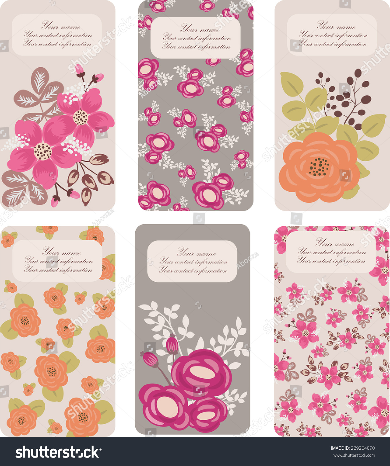 Set Six Floral Business Card Templates Stock Vector 229264090 ...