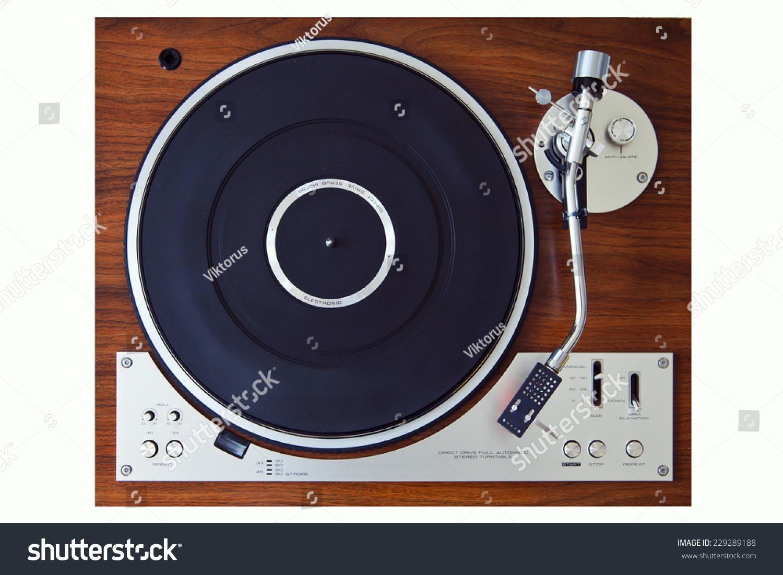 dj turntable top view