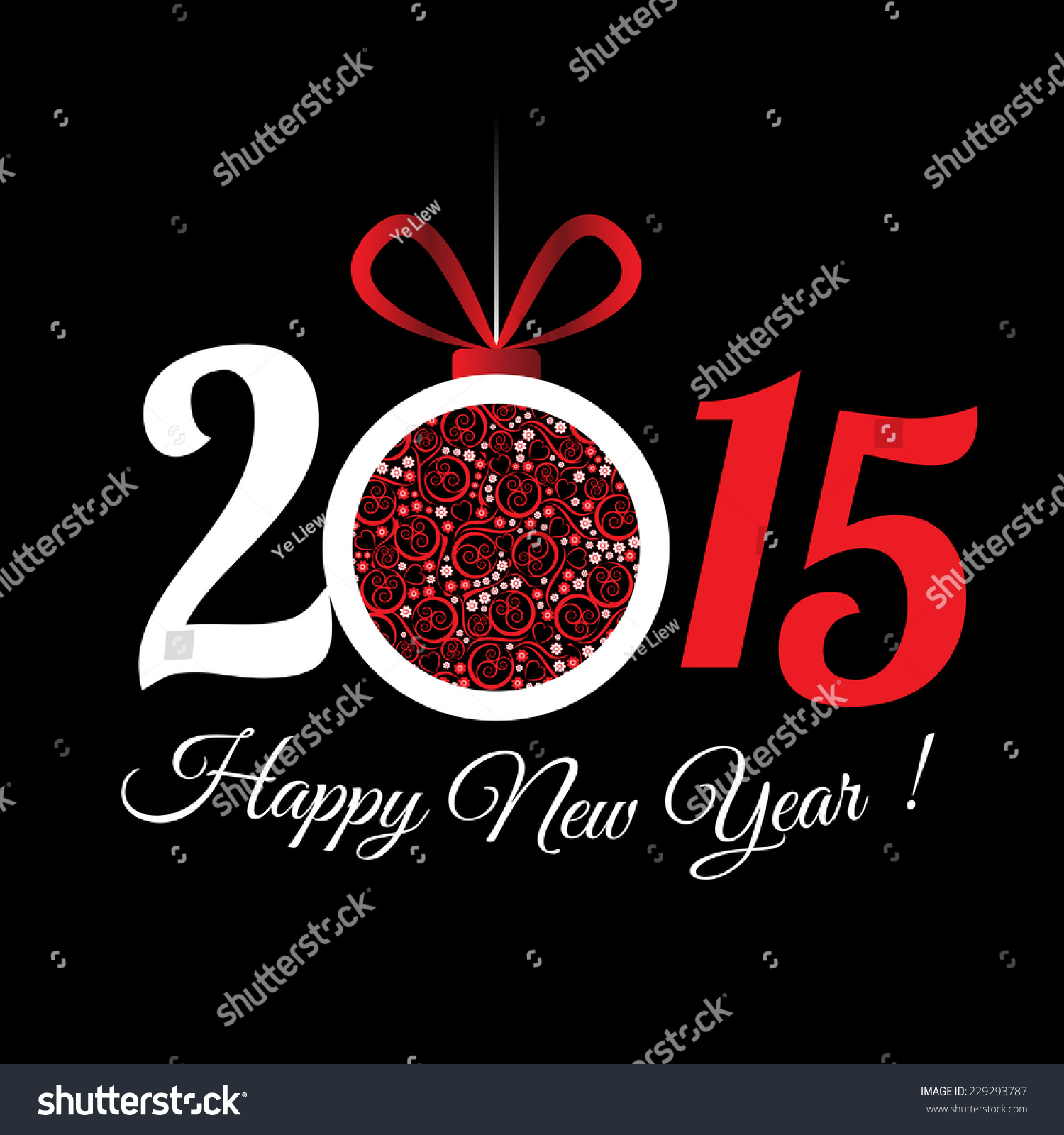 2015 Happy New Year Greeting Card Stock Vector 229293787 Shutterstock
