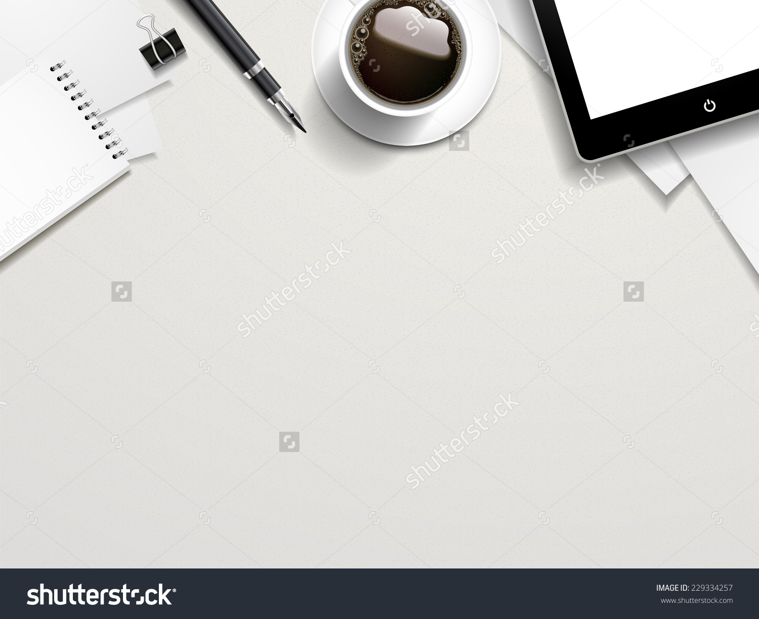 Top View Of Working Place Elements On White Table Stock Vector