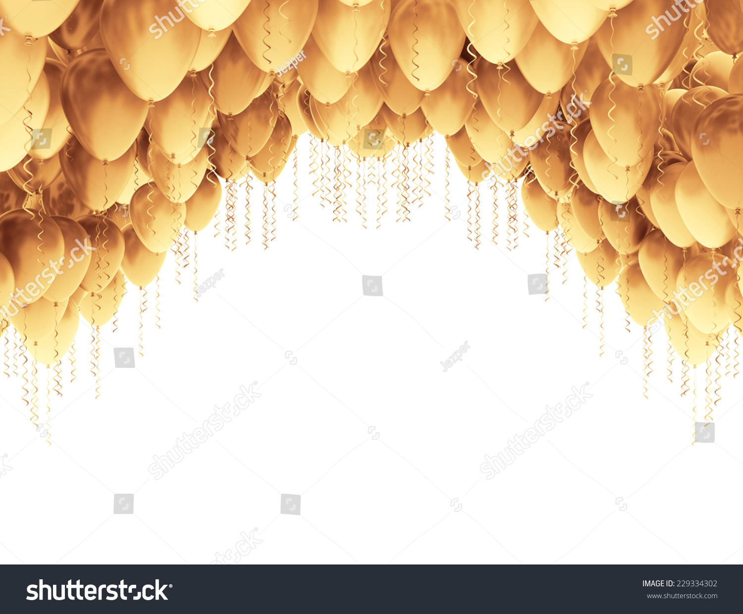 Golden party balloons isolated on white background