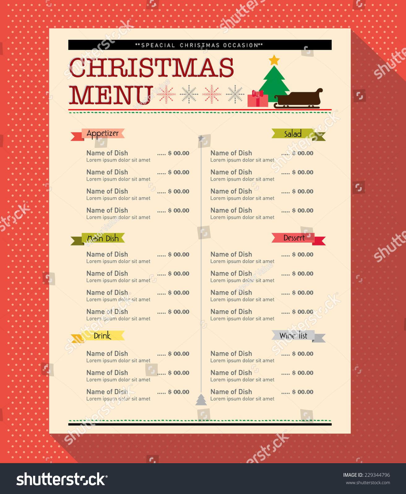 Christmas Menu Food Drink Design Template Stock Vector