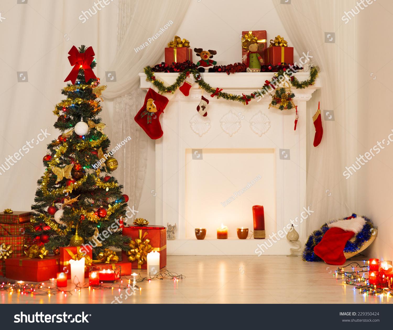 Christmas Room Interior Design Xmas Tree Stock Photo Edit Now 229350424