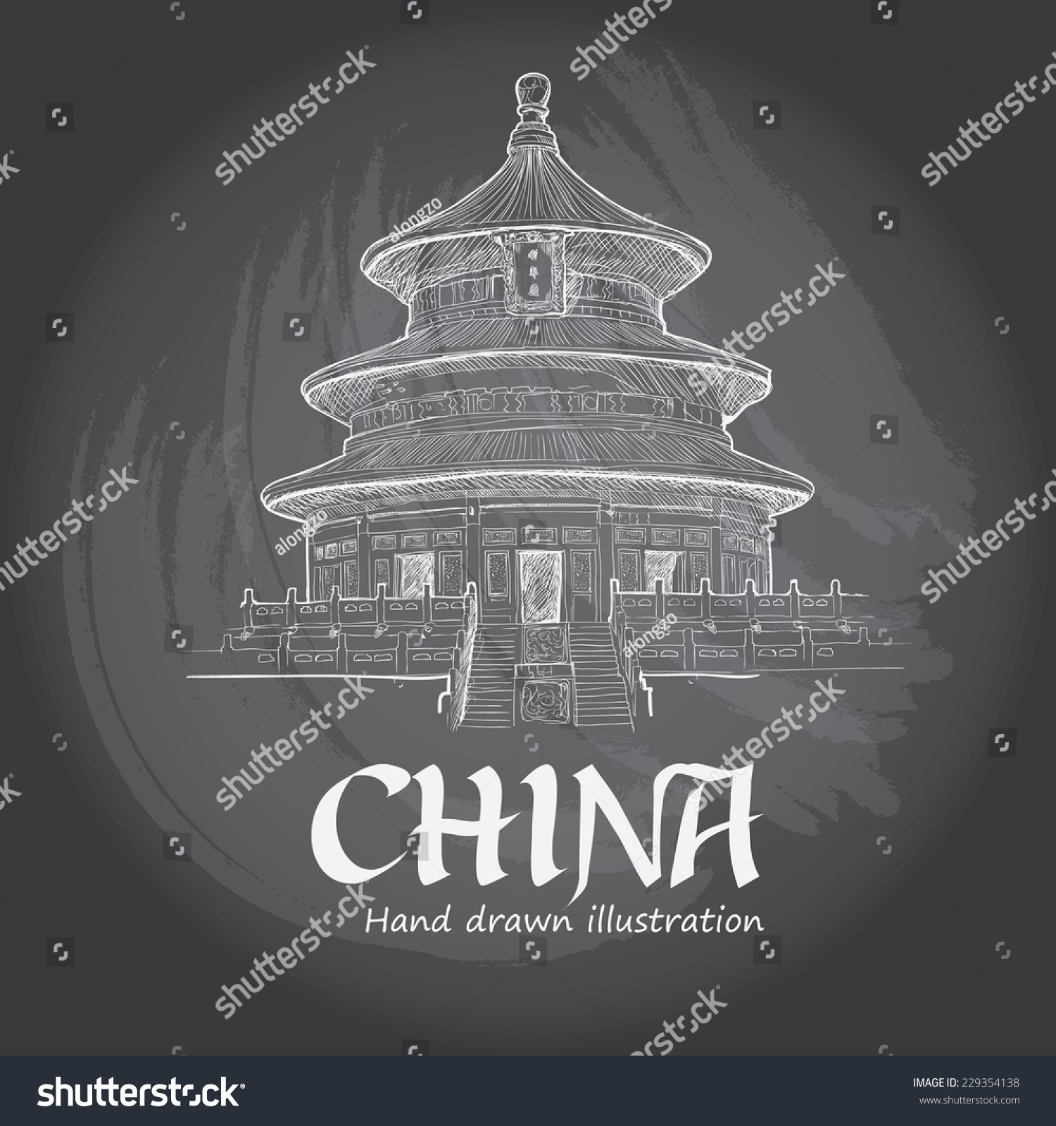 Temple heaven beijing china chinese symbol stock vector 229354138 temple of heaven in beijing china chinese symbol hand drawn vector illustration buycottarizona Gallery