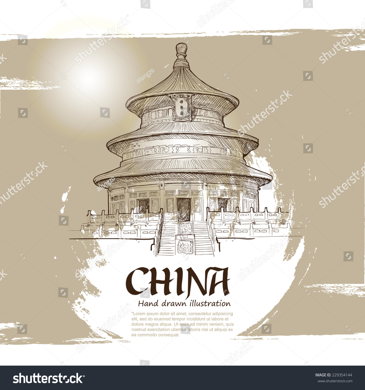Temple heaven beijing china chinese symbol stock vector 229354144 temple of heaven in beijing china chinese symbol hand drawn vector illustration buycottarizona Gallery