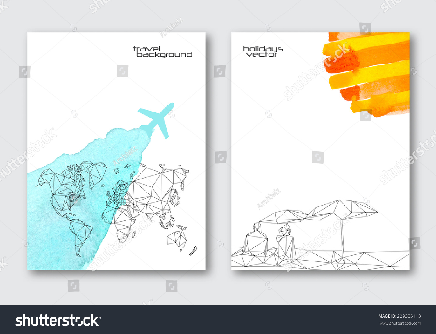 Vector travel poster templates hand drawn vectores en stock vector travel poster templates hand drawn watercolor stain background triangular world map and abstract gumiabroncs Gallery