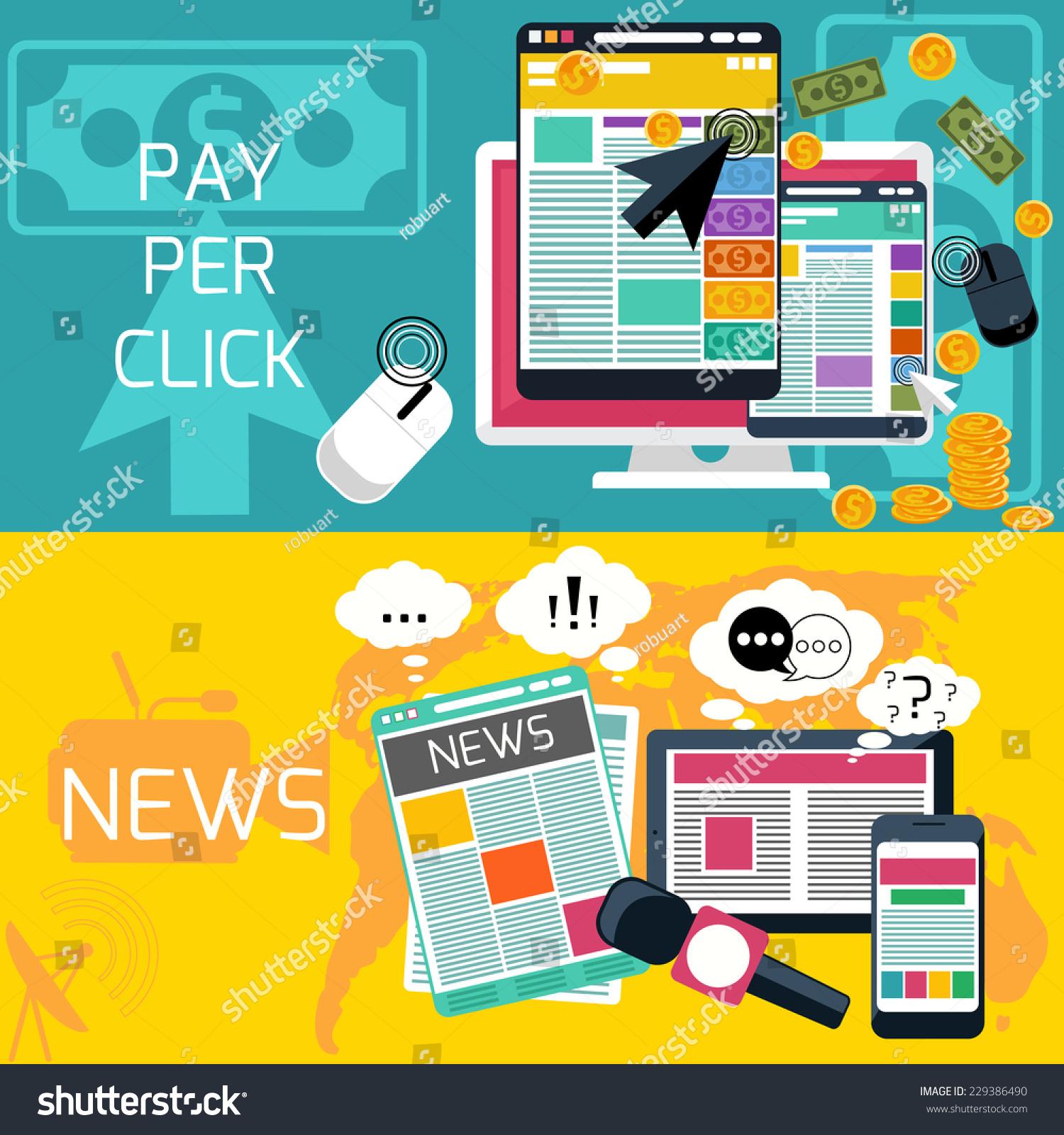 Mass Pay Info Site: Mass Media Journalism News Concept Flat Stock Vector