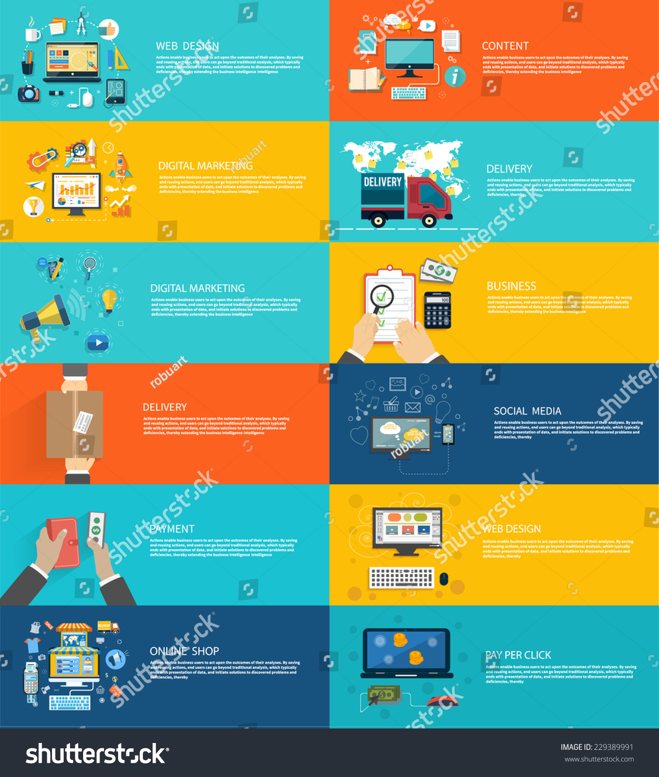 Icons set banners for web design digital marketing delivery payment onlin - Internet shop design ...