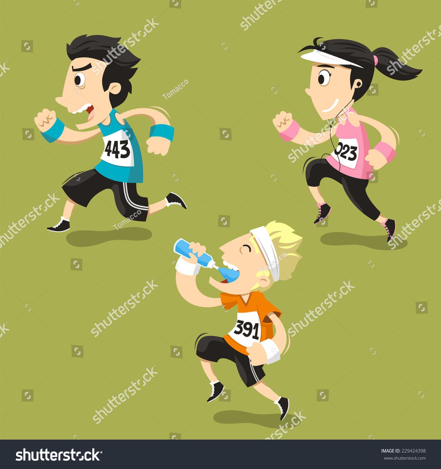 Runners Running Runner Training Jogging Vector Stock