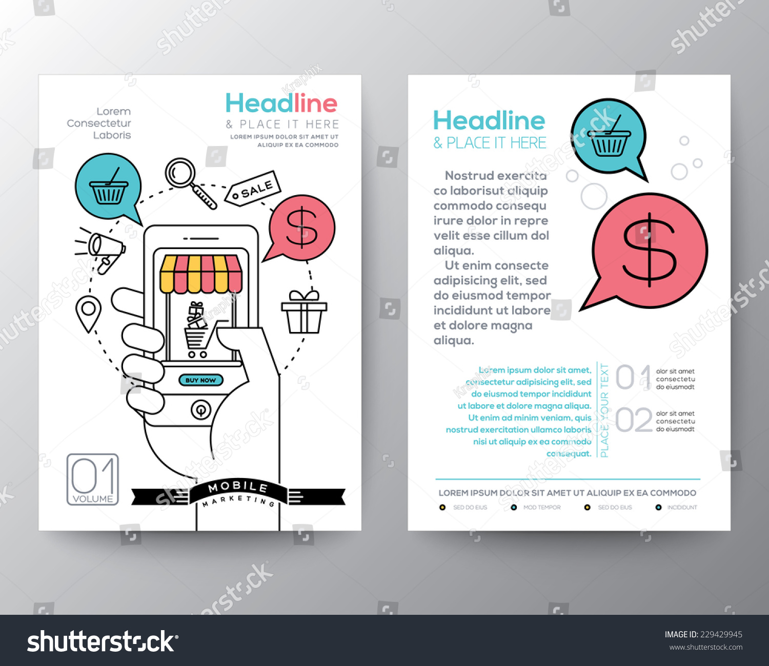 brochure flyer design layout template a stock vector  brochure flyer design layout template in a4 size digital marketing concept online shopping smart phone