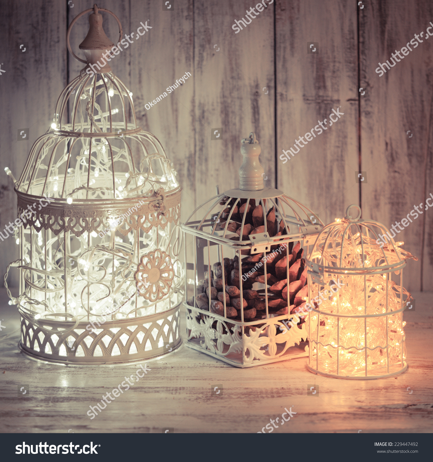 Christmas Light Decoration White Bird Cage Stock Photo Edit Now