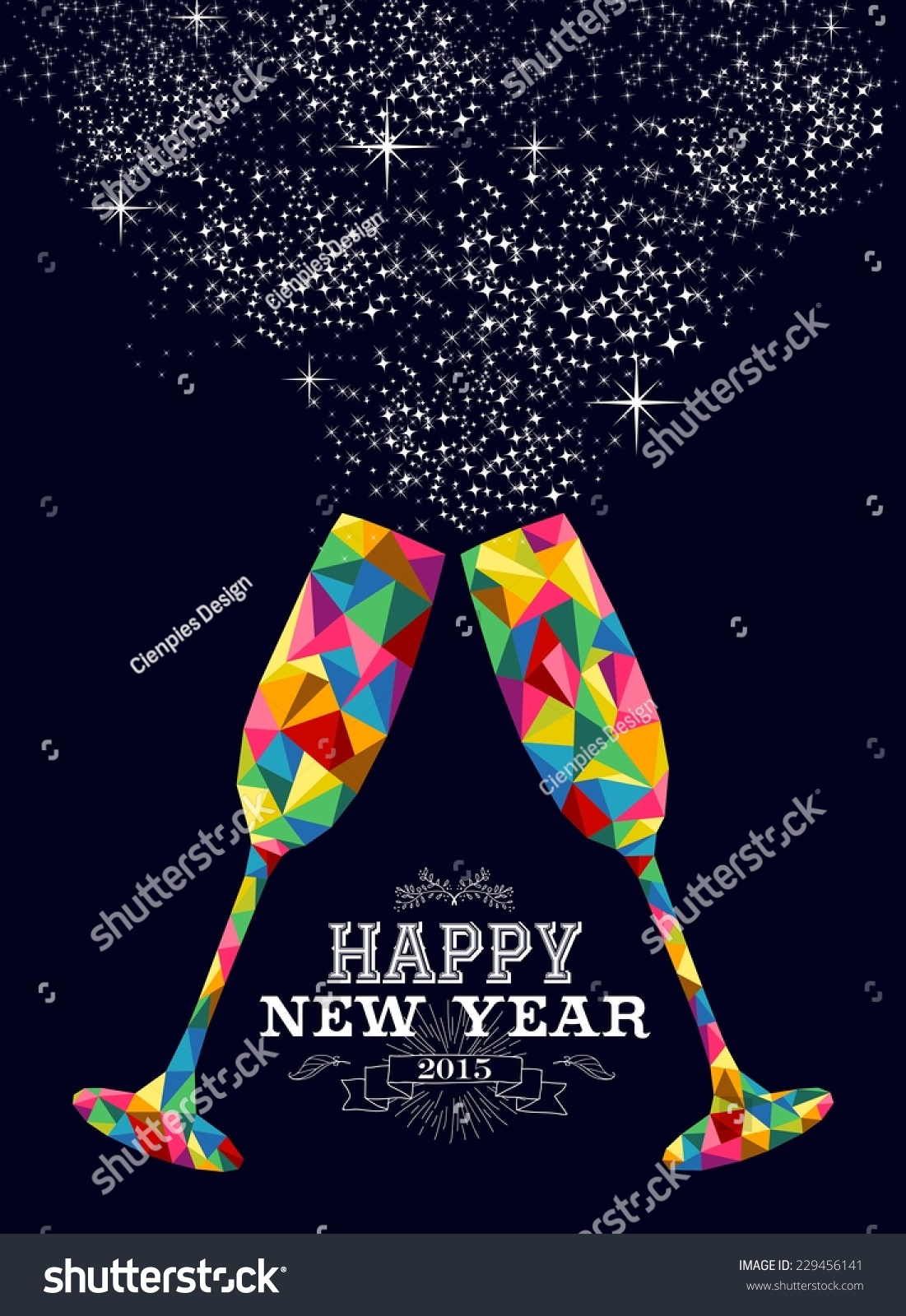 Happy New Year 2015 Greeting Card Stock Vector 229456141 Shutterstock