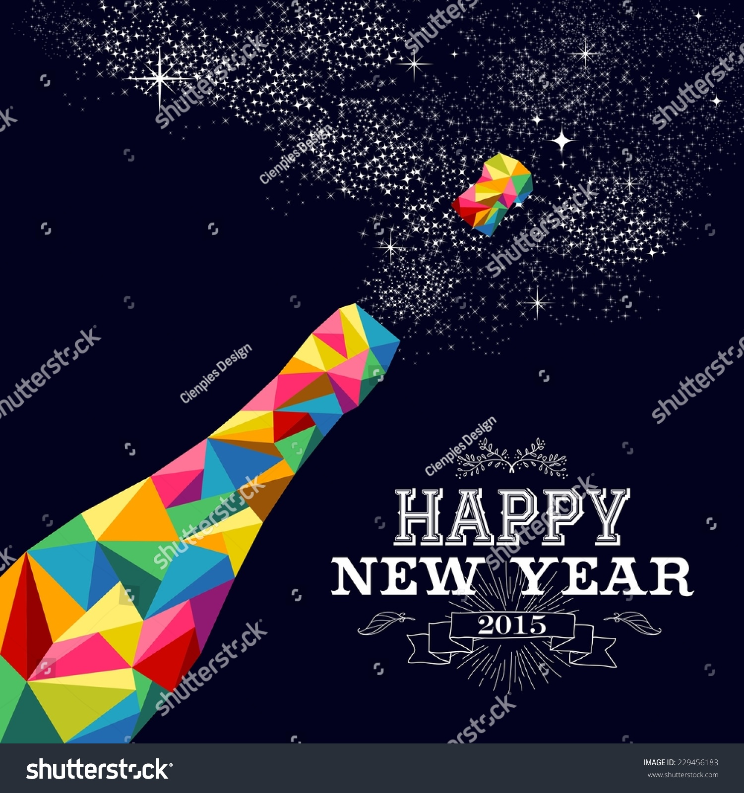 Happy New Year 2015 Greeting Card Stock Vector 229456183 ...