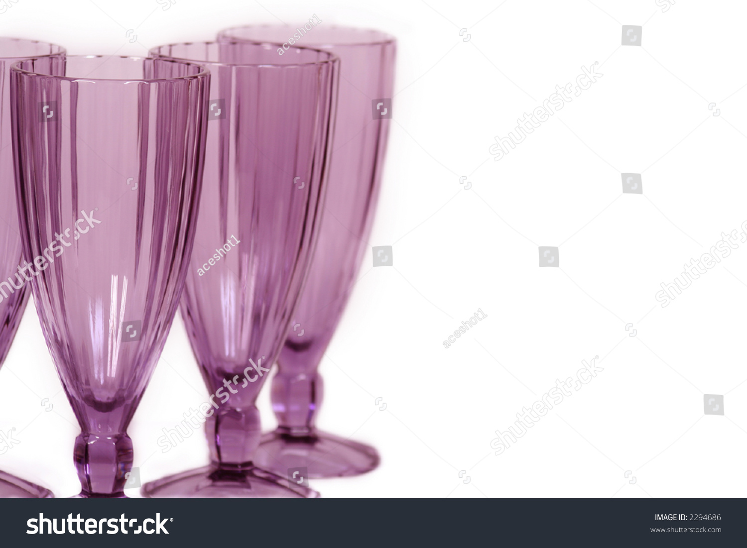 Rose Colored Wine Glasses On White Stock Photo 2294686