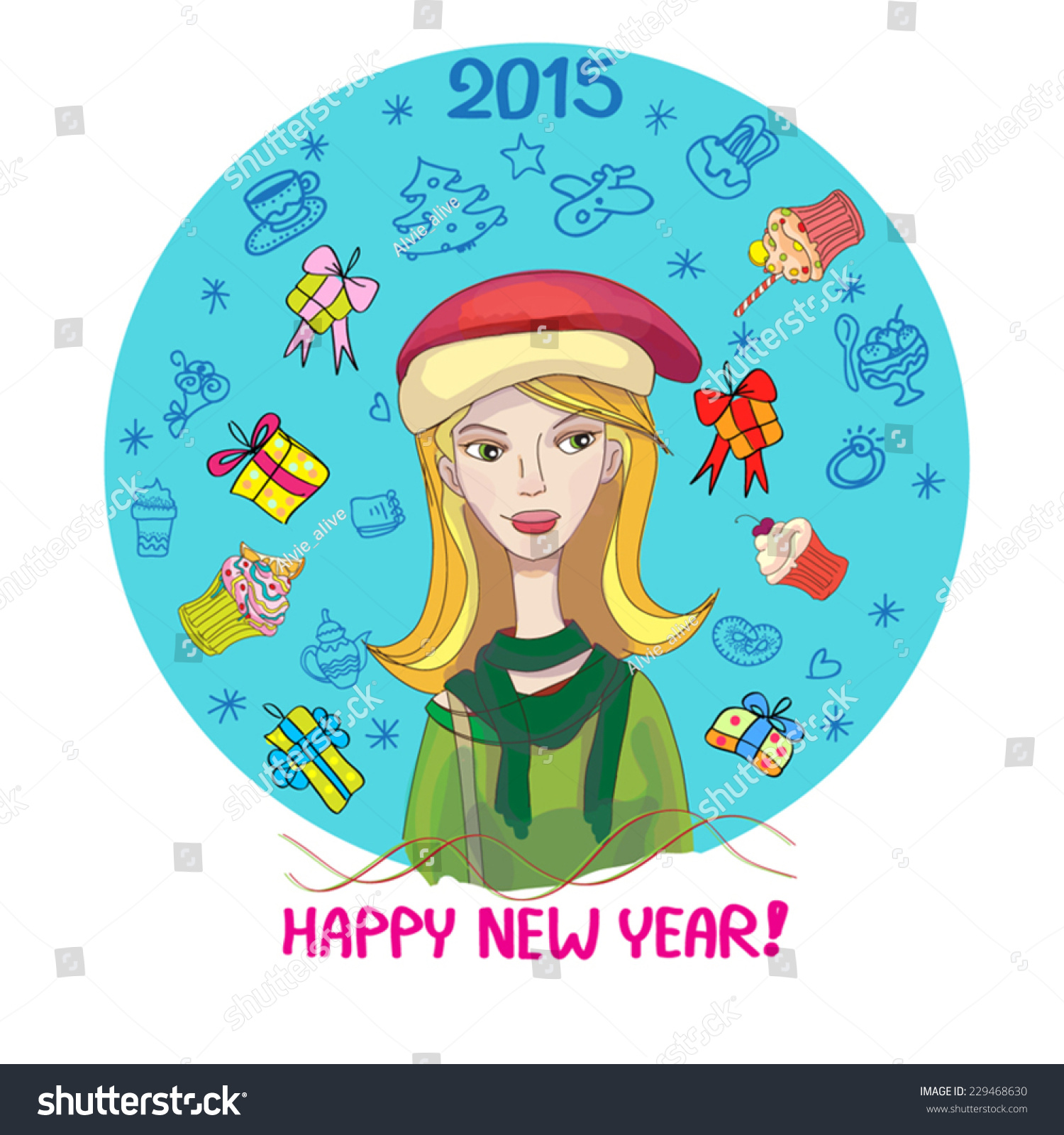 happy new year cute illustration of blonde girl in christmas hat and gift boxes cupcakes