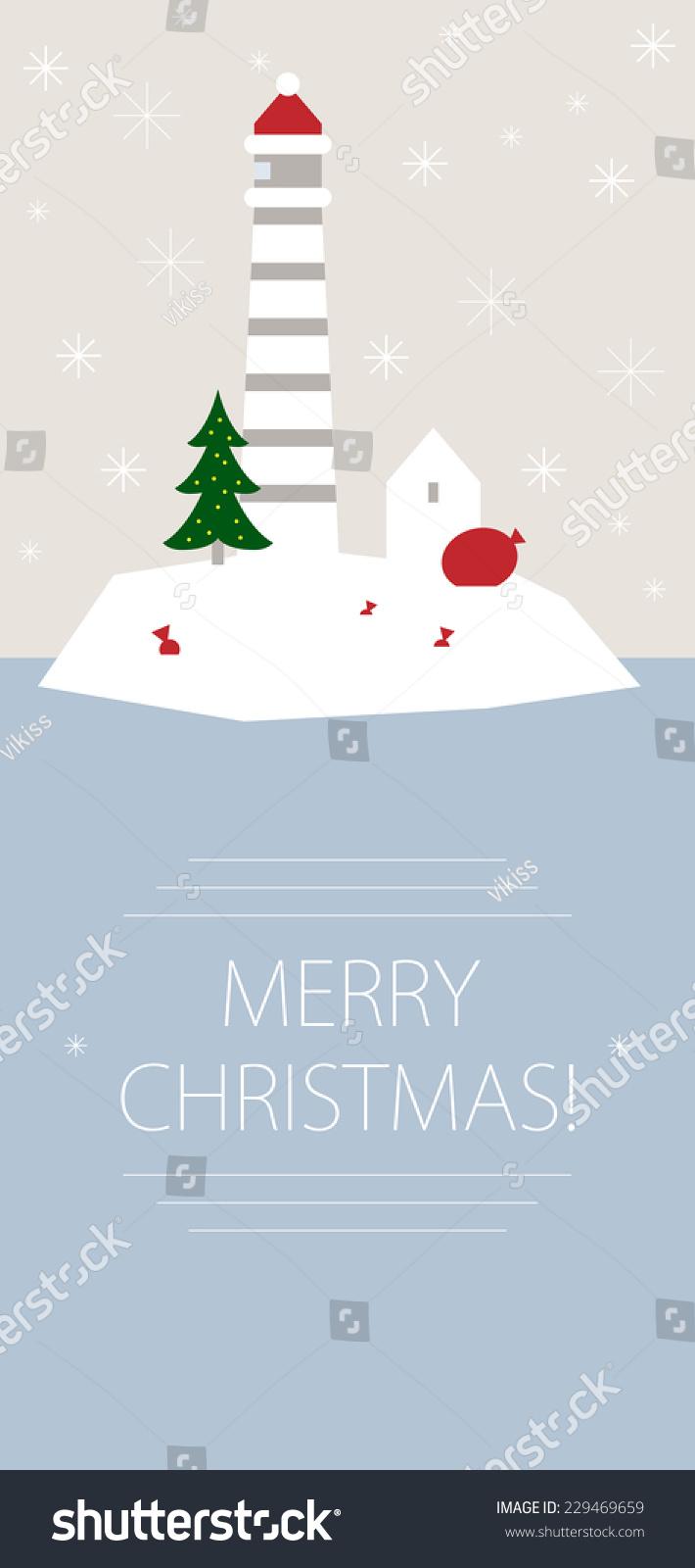 Christmas Card Greetings Island Lighthouse Stock Illustration
