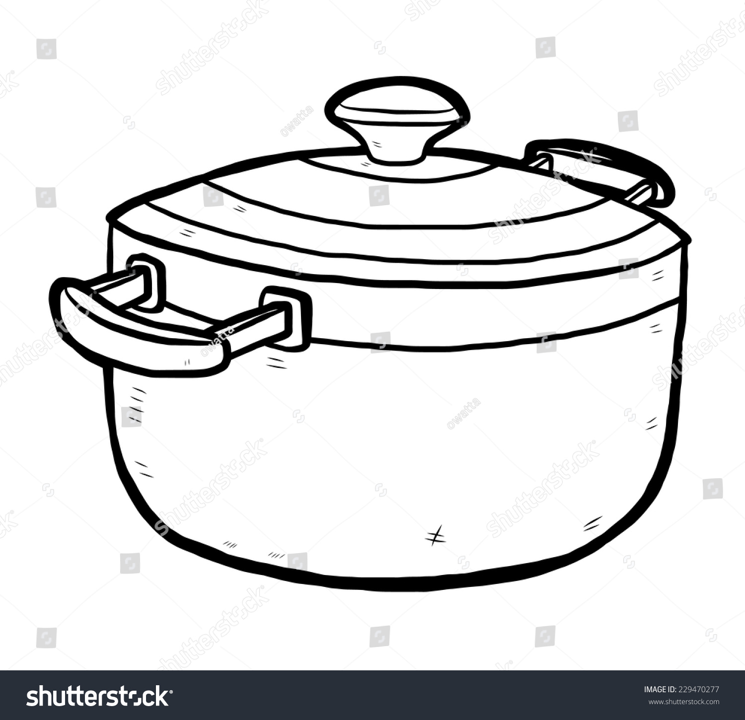 kitchen pot cartoon vector illustration black stock vector
