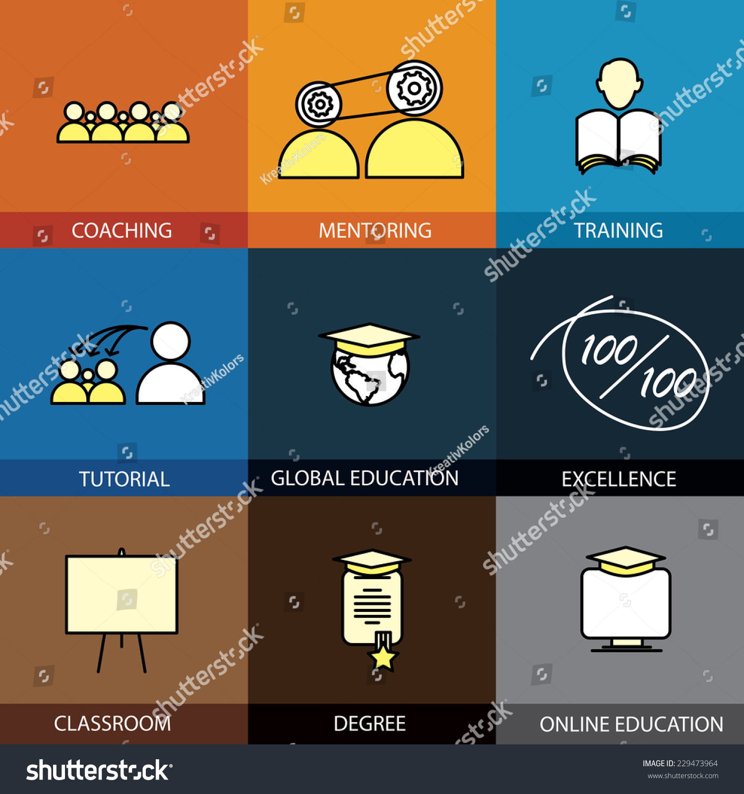 Flat Design Set Of Vector Line Icons Of Coaching Mentoring