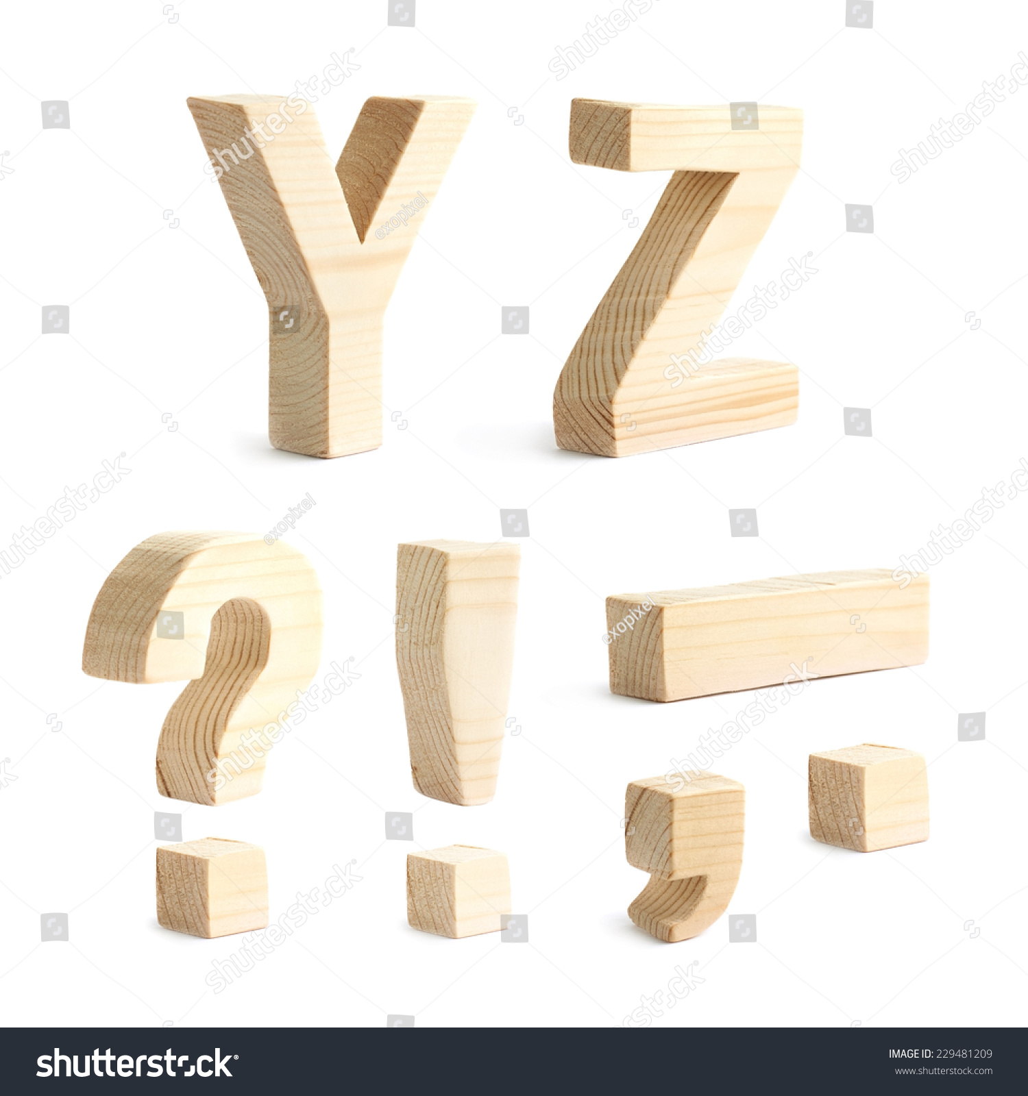Set Of Multiple Wooden Block Character Symbols Y And Z Letters And
