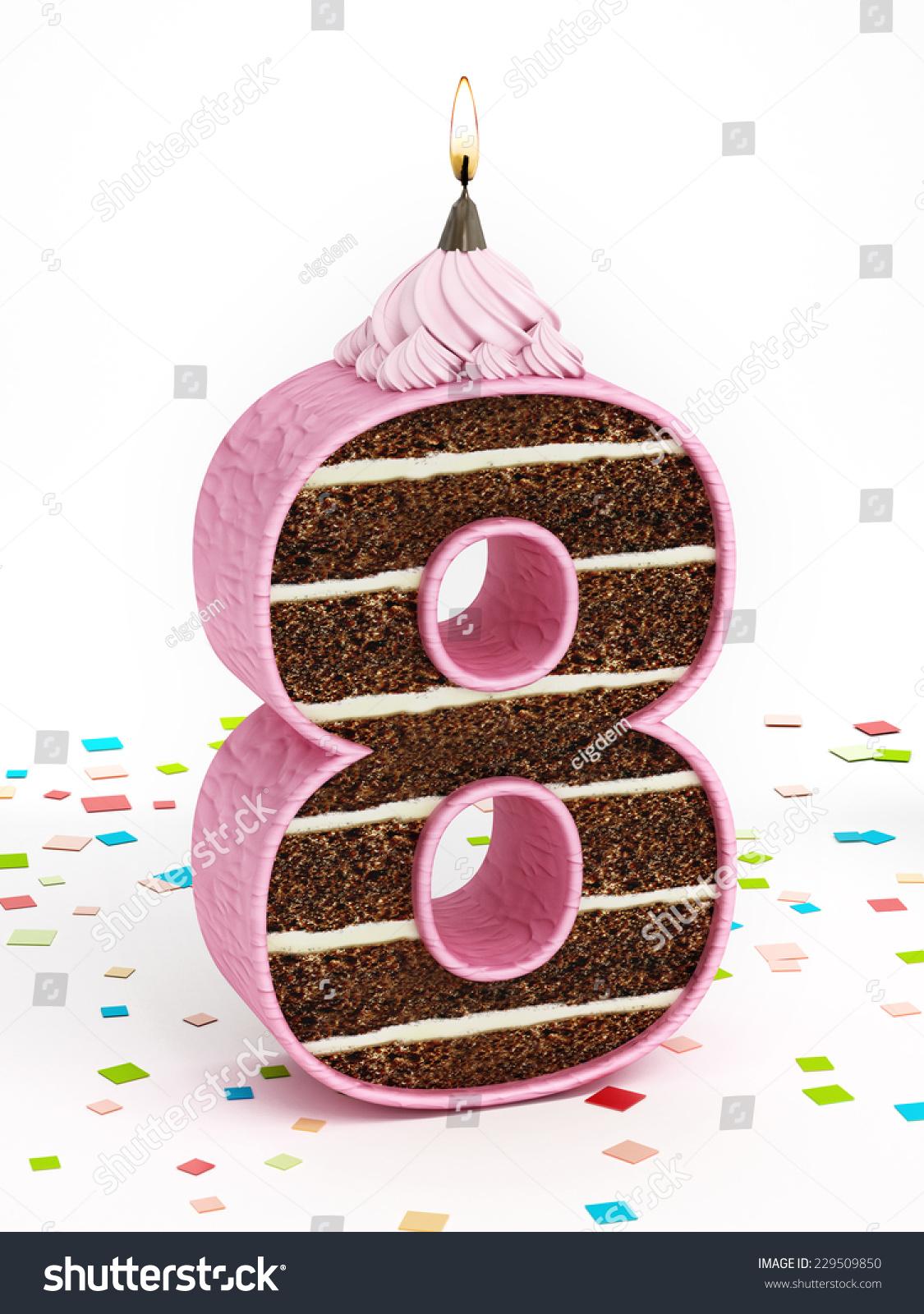Number 8 Shaped Chocolate Birthday Cake Stock Illustration 229509850