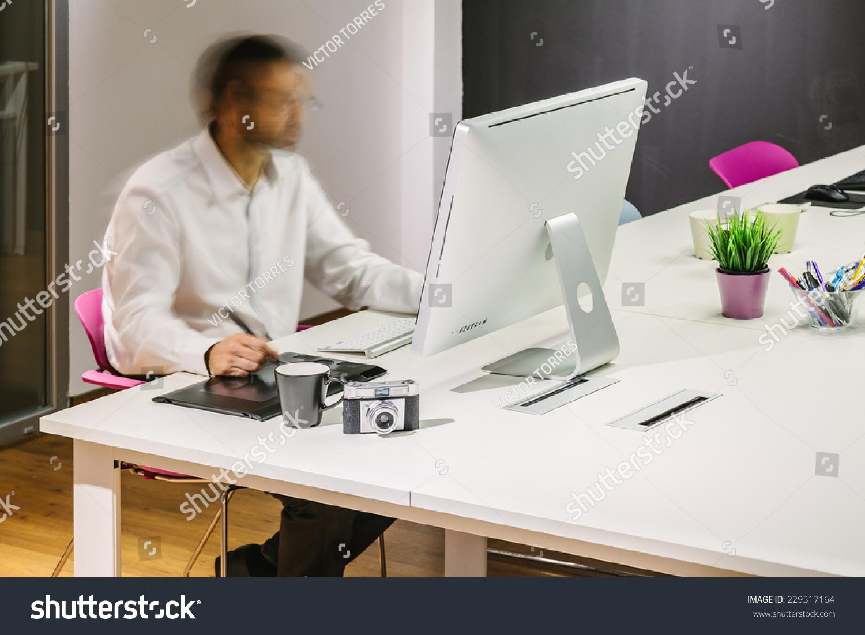 trendy office. Man Working In A Modern Trendy Office I