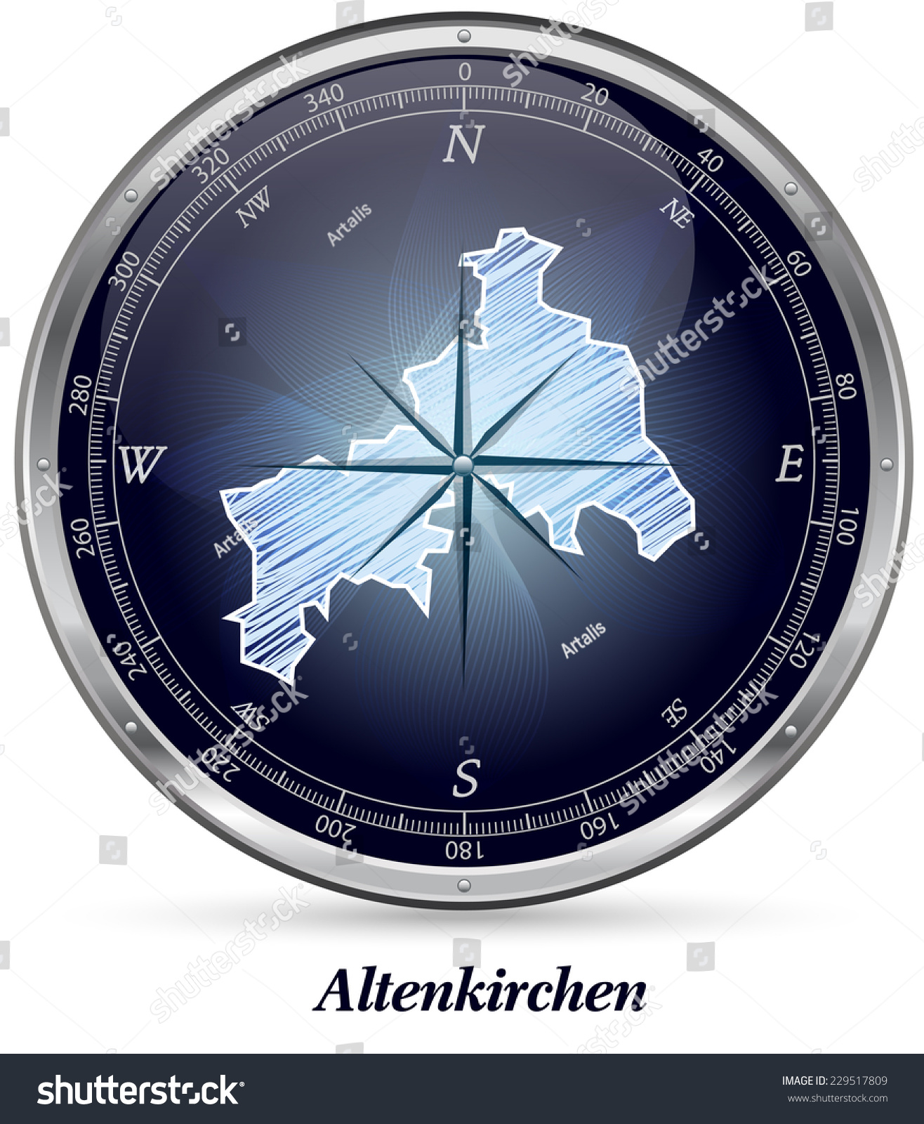Map of Altenkirchen with borders in chrome