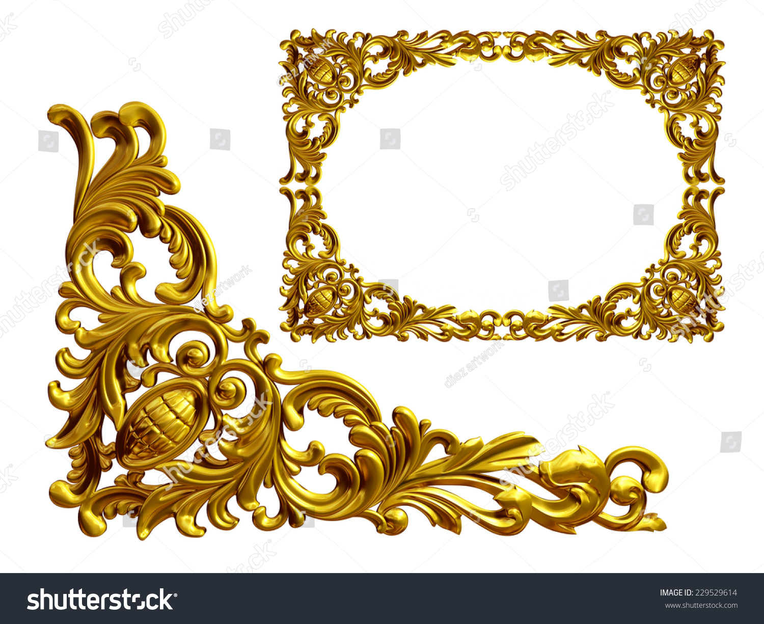 golden frame with baroque ornaments in gold mirror the element to complete the frame
