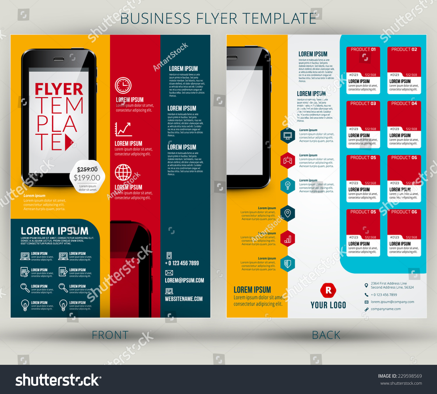 vector business flyer brochure design template stock vector vector business flyer or brochure design template mobile application advertising