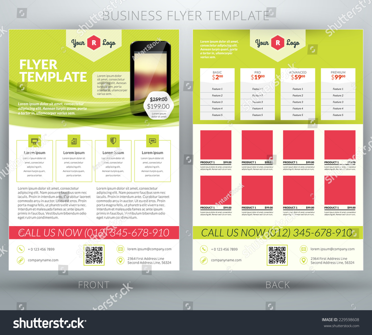 Vector business flyer brochure design template stock for Custom brochure design