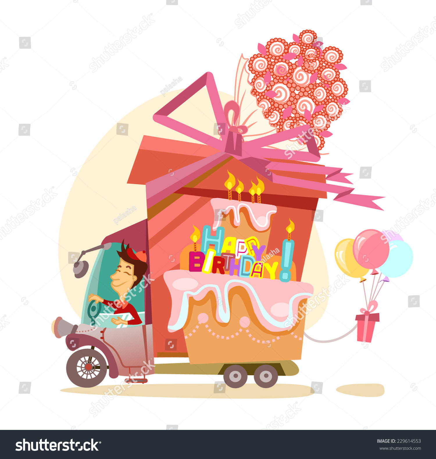 Cartoon Driver Big Gift Balloons Flowers Stock Vector Royalty Free