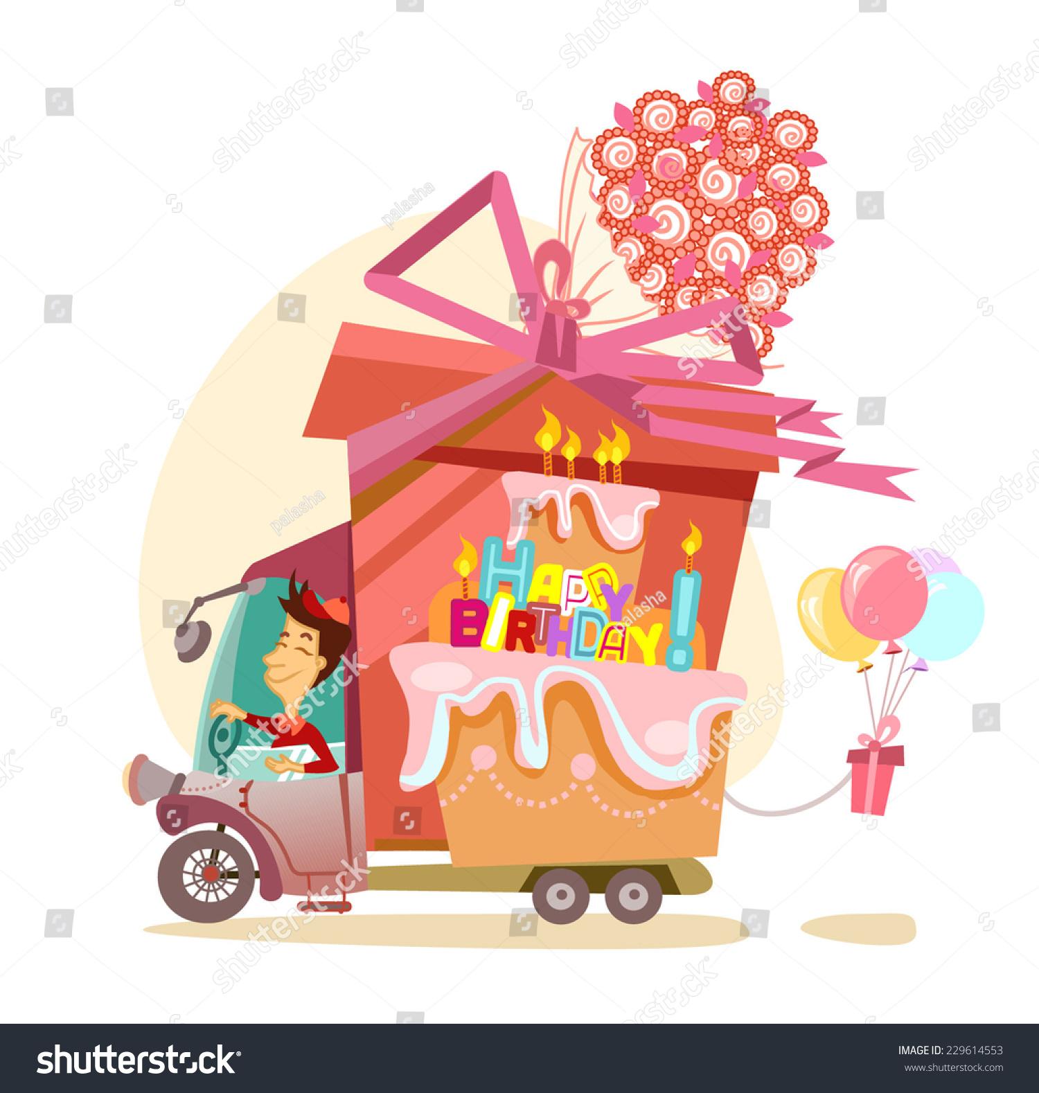 Cartoon driver big gift balloons flowers stock vector royalty free cartoon driver with big gift balloons flowers and happy birthday cake happy birthday izmirmasajfo