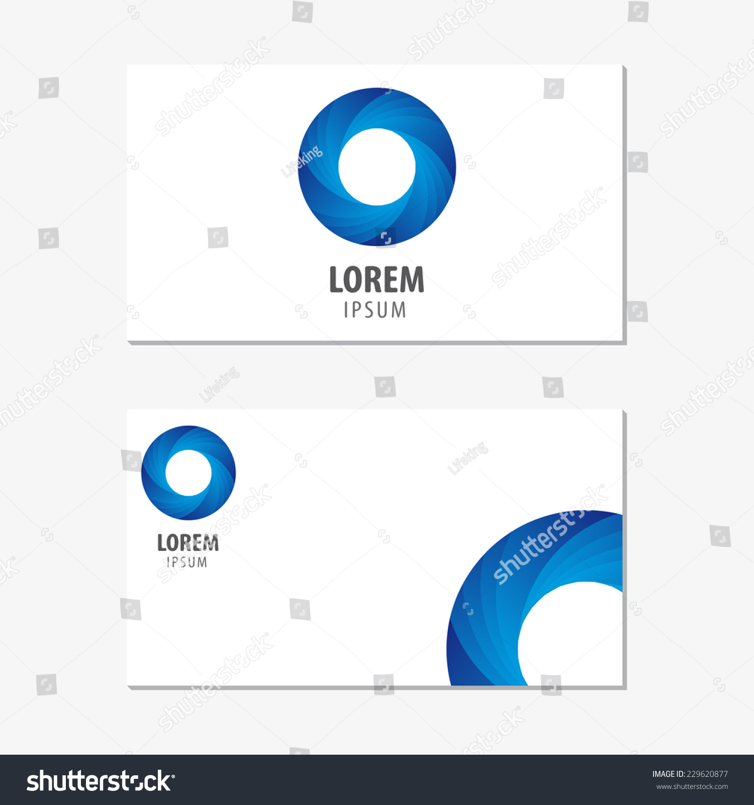 Vector Logo Design Element With Business Card Template On White Background Blue Circle
