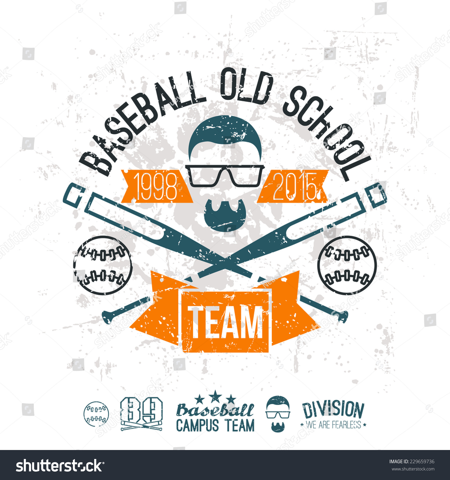 Emblem Baseball Team Graphic Design For T Shirt Color Print On A White