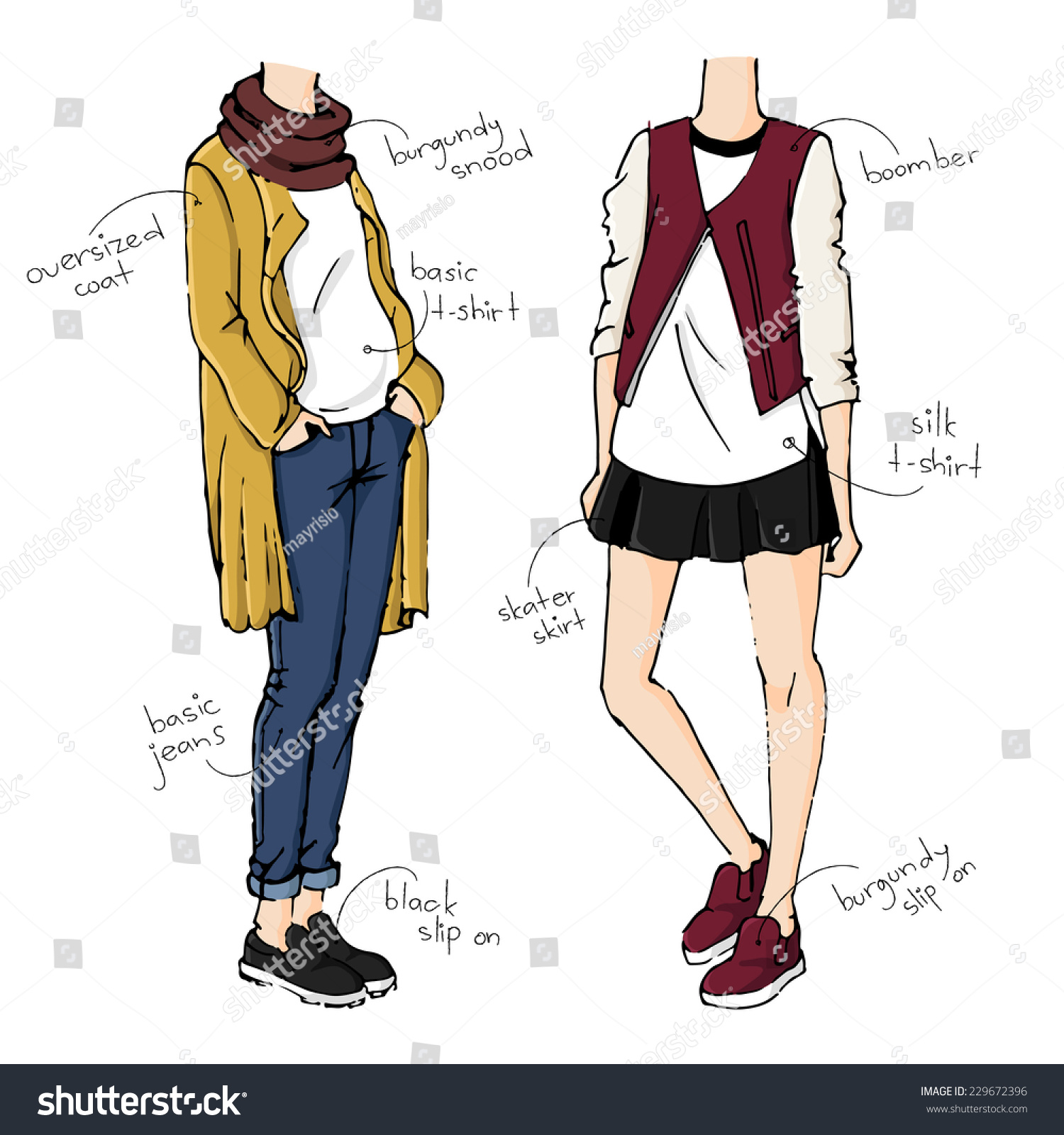 Fashion Sketch Drawing Girls Beautiful Looks Stock Vector 229672396 - Shutterstock