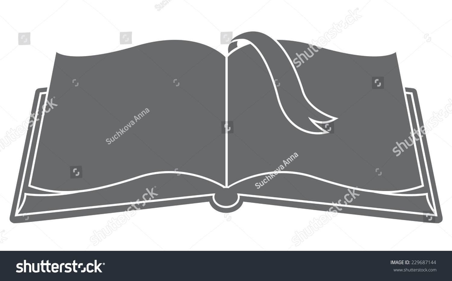 Book Cover Design Silhouette : Open book bookmark silhouette vector stock